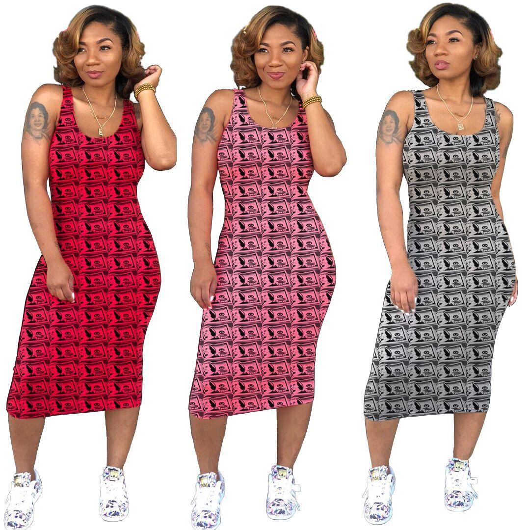 Summer Scoop Neck Money Printed Mid Calf Bodycon Dresses Holiday Fashion Casual Skirt Night Party Clothing
