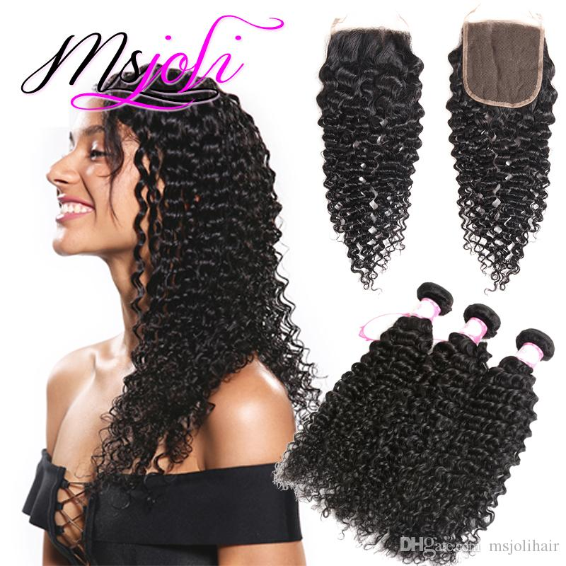 8A Indian Virgin Hair Deep Wave With Closure 3 Bundles Human Hair Deep Curly Raw Indian Hair With Closure Middle Three Free Part