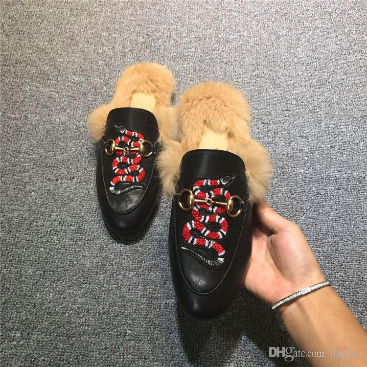 Designer Slippers Princetown Fur Slippers Fur Mules Flats Chain Ladies Casual Shoe Women Mens Loafers Muller Slipper Shoes Furry Slides