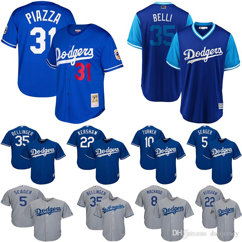 finest selection ec849 89ceb Los Angeles Men s Dodgers Jerseys Mike Piazza AJ Pollock Cody Bellinger  Belli Royal Cooperstown Collection Mesh Button-Up Baseball Jersey