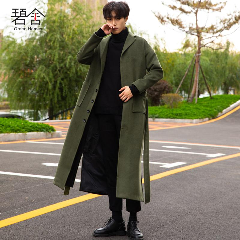37effe7b0acc 2019 2018 Young New Winter Wool Coat Men Lengthen Woolen Coats Men S Green  Loose Fashion Loose Casual Overcoat From Yanmai
