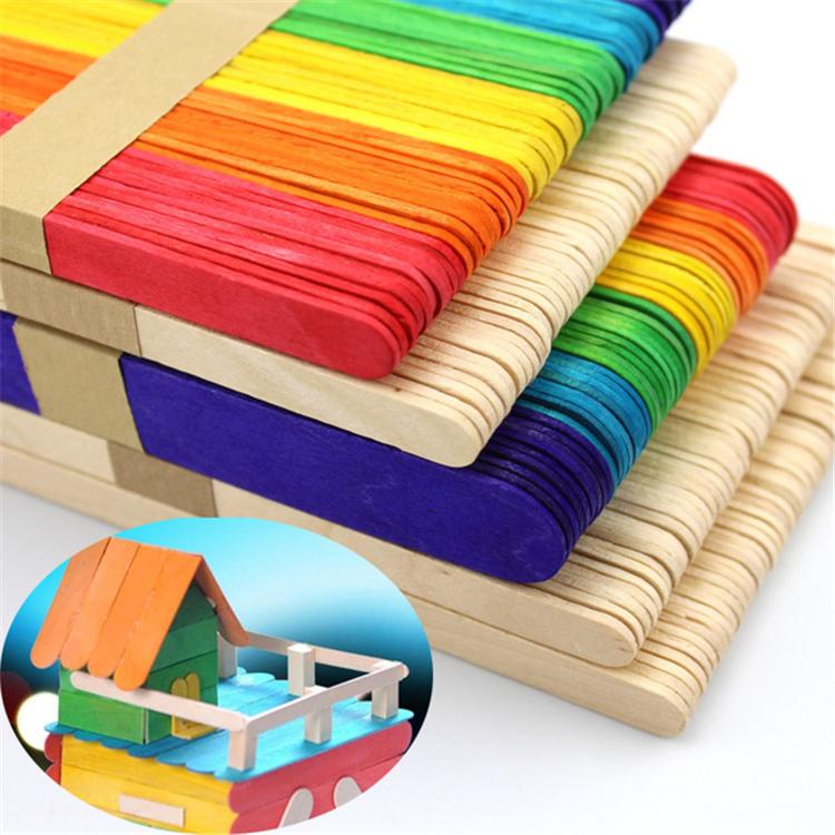 50pcs/lot Wooden Popsicle Stick Kids Hand Crafts Art Ice Cream Lolly DIY Making Gift Kids DIY Toys SS152
