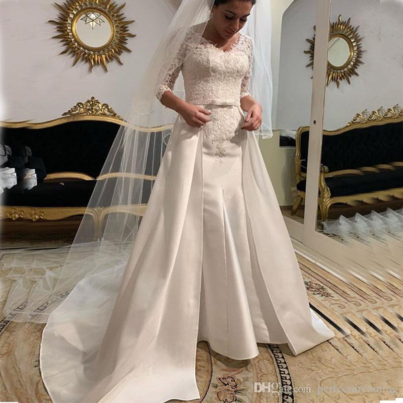 abef79cf64e 2019 Hot Sale V Neck Satin Wedding Dresses Three Quarter Length Sleeves  Bridal Gowns Detachable Train White Ivory Wedding Gowns Hot Sale Bridal  Couture ...