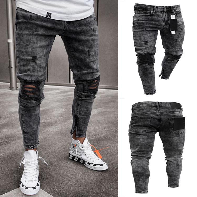 Mens Jeans Snow Grey Spark Draped Washed Long Pencil Pants Fashion Elastic Knee Holes Zipper Jeans