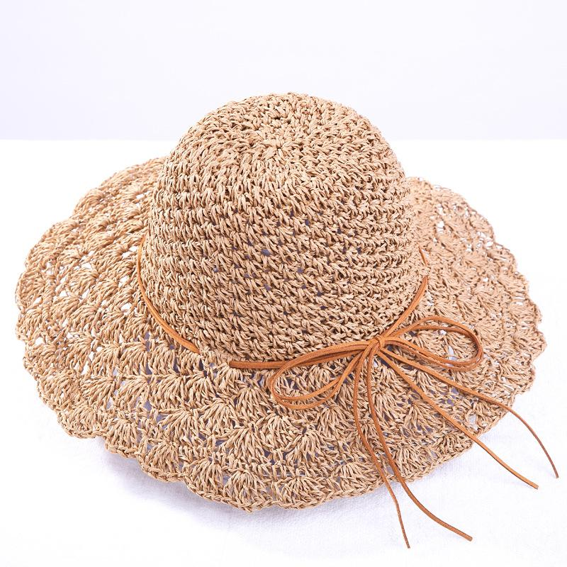 51aa24007d8 Round Women S Summer Hat Hand Woven Wide Brim Straw Hats Fashion Female Sun  Caps Foldable Bohemia Beach Hat Hats For Men Sun Hats From Huazu