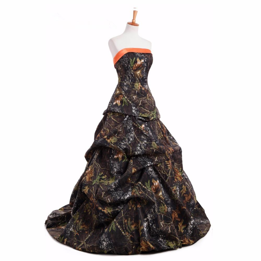 Discount Strapless Camo Wedding Dress with Ruched Pick-up Skirt Corset Back Plus Szie Camo Country Bridal Dress Gown Custom