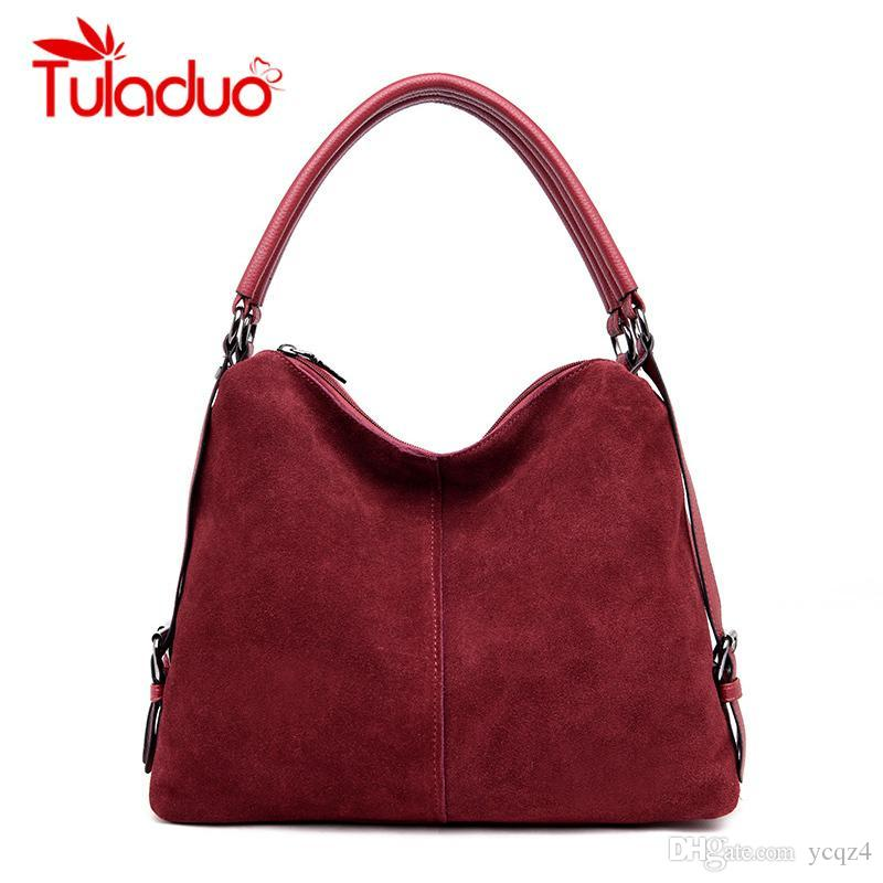 b6cc7297bff3 Luxury Real Split Suede Bags For Women Vintage Nubuck Leather Bags Handbags  Women Famous Brands Tote Messenger Shoulder Bag Leather Bags Designer Purses  ...