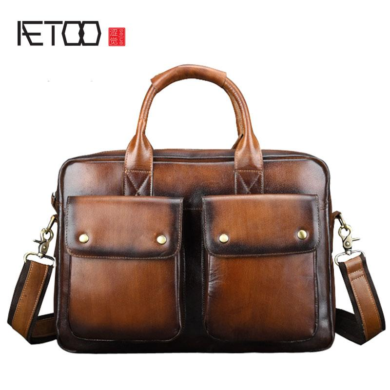 aa5eae134360 BJYL Genuine Leather Briefcase men Business Fashion Messenger Bag 14'  Laptop Bag Crossbody Bags Tote casual