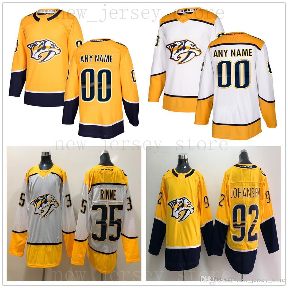 timeless design d33a0 c2d98 Custom Nashville Predators Hockey Jersey White Yellow 33 Viktor Arvidsson 2  Anthony Bitetto 42 VBlackwell 13 Nick Bonino 14 Mattias Ekholm
