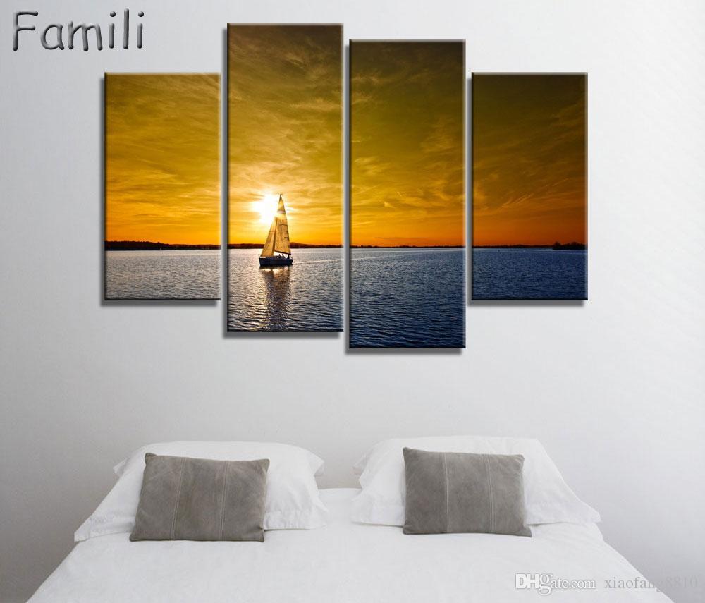 4 Stück Segelboot Leinwand Kunst Wandbilder Für Wohnzimmer Moderne Poster  und Gedruckt Wand Leinwand Kunst Wohnkultur Ungerahmt