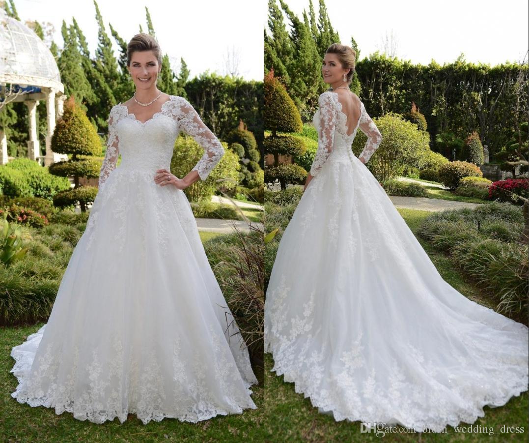 db9327f09 Vestido de novia de encaje para mujer 2019 Vestido de novia de manga larga  A-Line Country Garden Sweep Tren Vestido de novia Vestidos de boda sin ...