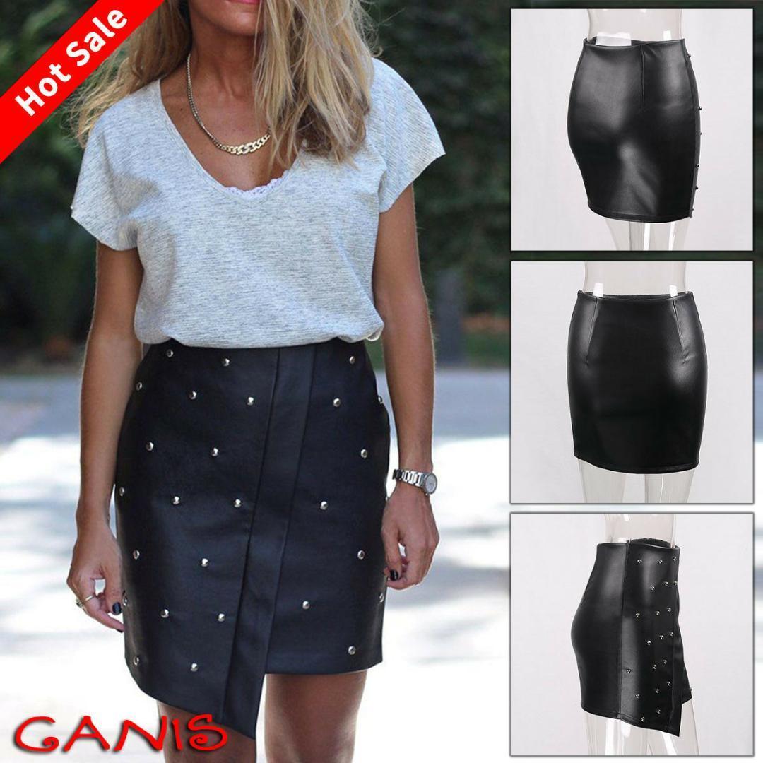 8b3a940948e Acheter Femmes Élégantes Faux Cuir Lacets Mini Jupe Dames Taille ...