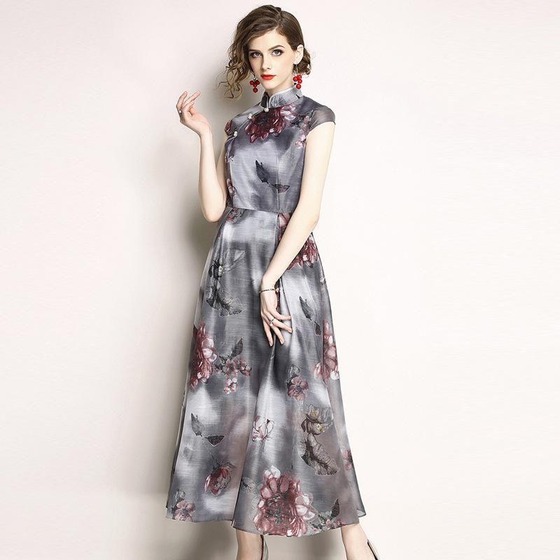 8057f5ae3290 Acquista Abiti Lunghi Da Donna Stile Vintage Con Stampa A Maniche Lunghe E  Collo Alto In Stile Cinese A  81.29 Dal Preetybeauty