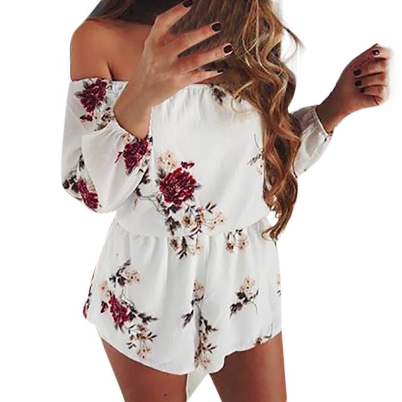 6bc0fbb40f0f 2019 Fashion Floral Printed Rompers Women Summer Long Sleeve Off Shoulder  Boho Beach Jumpsuit Ladies Elegant One Piece Playsuit  Ju From Vanilla04