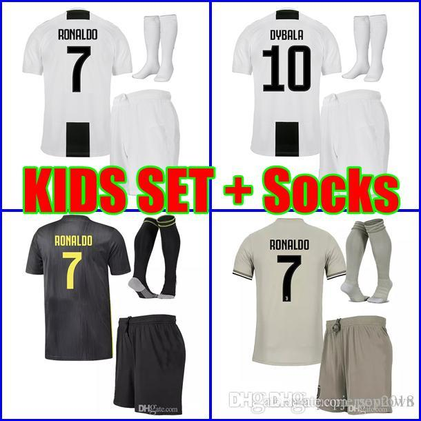 the latest 6f481 c0ac2 Best Thailand 2019 RONALDO Juventus kids Soccer jersey 18 19 DYBALA MATUIDI  boys youth children Football kit set uniform with socks