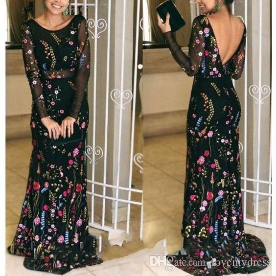 2019 Designer Print Prom Evening Dresses Cheap With Illusion Long Sleeves V Open Back African Women Formal Dress Party Special Occasion