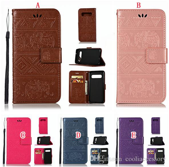 Elephant Strap Wallet Leather Case For Samsung Galaxy S10E S10 PLUS MOTO G7 E5 PLAY GO Huawei P30 PRO Y9 2019 Stand ID Card Skin Cover 50PCS