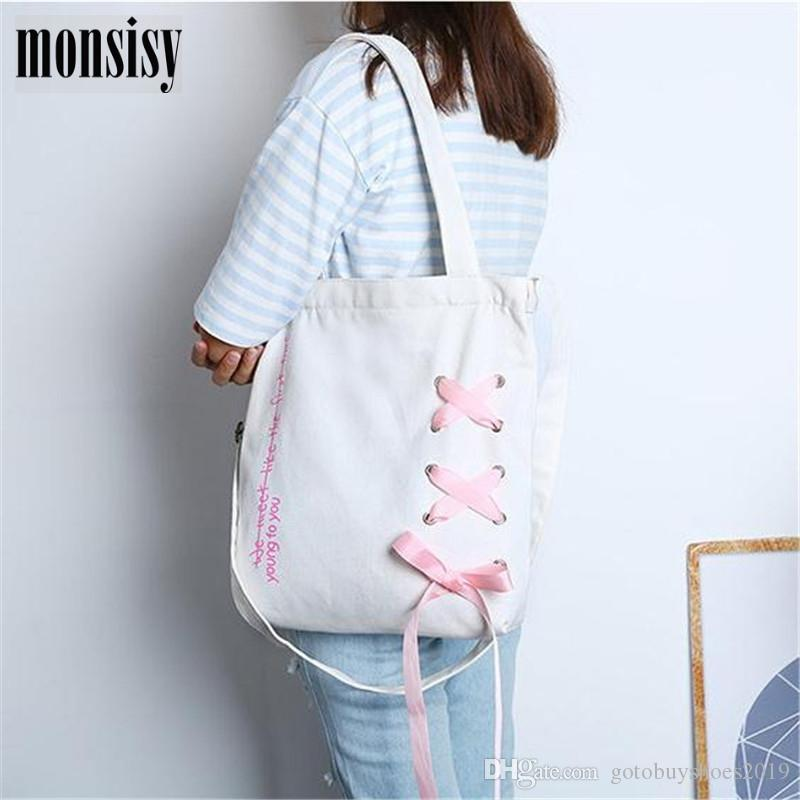 f6a551c8565218 Monsisy Heavy Duty Girl Canvas Tote Ladies Shoulder Bag Fashion School  Books Travel Messenger Bag Women Portable Shopping #215204 Best Reusable  Grocery Bags ...