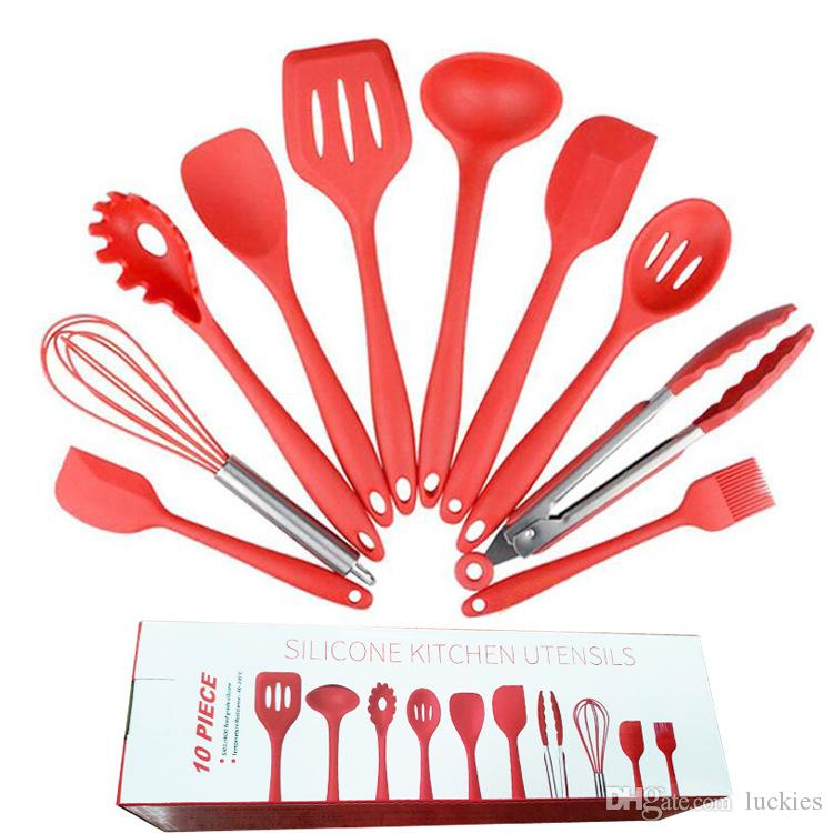 Silicone Kitchen Utensil Set 10 Pieces Cooking Utensils Set Nonstick Cookware Best Kitchen Tools For Home Cooking Bbq Baking Serving
