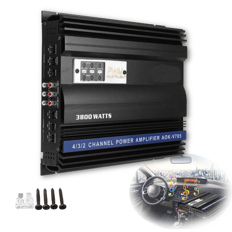 Freeshipping 3800W RMS 4 Channel 12V 4ohm Truck Car Audio Power Stereo Amplifier Amp Speaker Metal