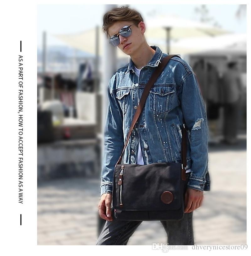 2019 New Men Canvas Leather Crossbody Bag Military Army Vintage Messenger Bags Shoulder Bag For Sport Outdoor Packs
