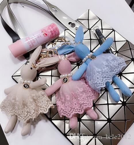 Gauze skirt rabbit bag is hanged adorn fashionable and lovely pearl key chain pendant female