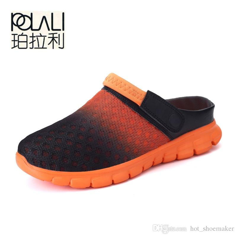 ef37cb958778 POLALI Big Size 36 46 Men Summer Shoes Sandals New Breathable Beach Flip  Flops Slip On Mens Slippers Mesh Lighted Unisex Shoes  8037 Sandles Wedge  Booties ...