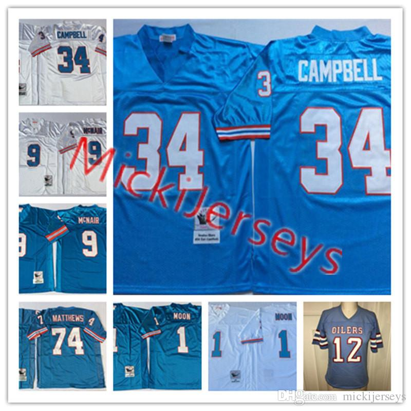 first rate efc93 ef349 release date houston oilers earl campbell 34 blue jersey ...