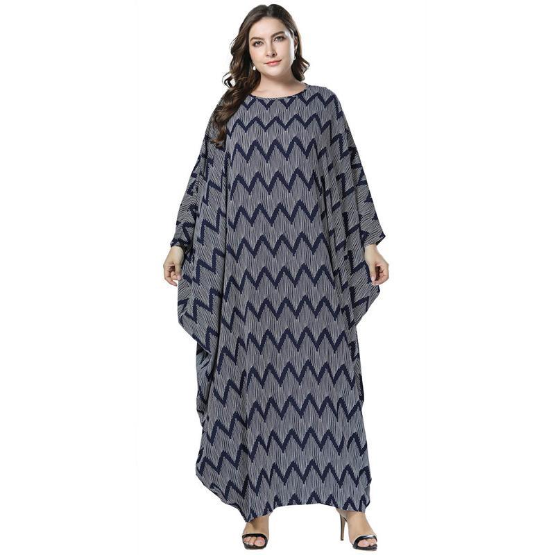 2019 Gray Plus Size Abaya Muslim Women Dress Wave Print Long Batwing ...