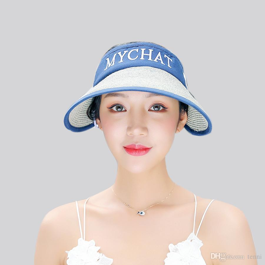 Fashion Summer Letter Visor Hat Women Empty Top Straw Beach Hat Girls  Foldable Top Sunhat Sun Visors Caps Female Wholesale WH619 Fascinator Hats  Tilley Hat ... 30b0e9d91