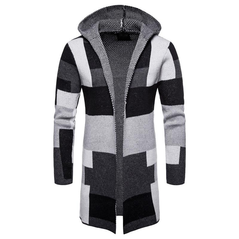 2019 Vintage Style Mens Knitted Cloak Sweater Coat Hooded Patchwork