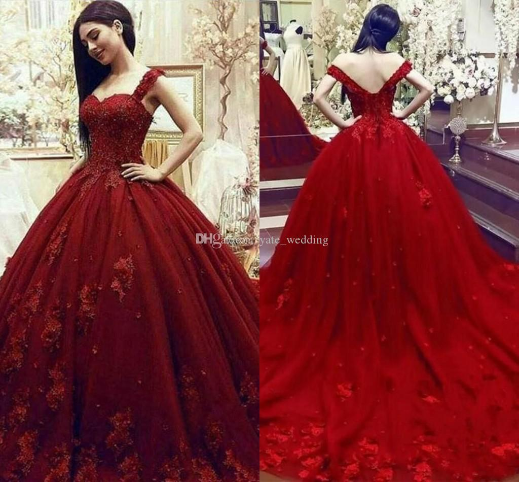3f15eb895a8 Gorgeous Dark Red Ball Gown Prom Dresses Sweetheart Off The Shoulder  Appliques Beading Tulle Backless Evening Quinceanera Party Dresses Burgundy  Prom ...