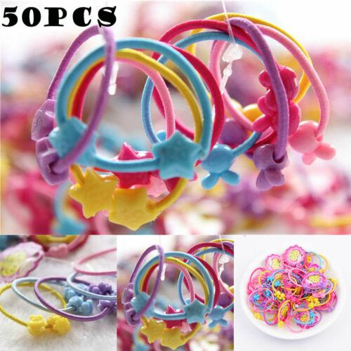 50pcs Elastic Rubber Hair Ties Band Rope Ponytail Holder Fashion Girl Scrunchie Fashion Girls Women Headwear Accessories