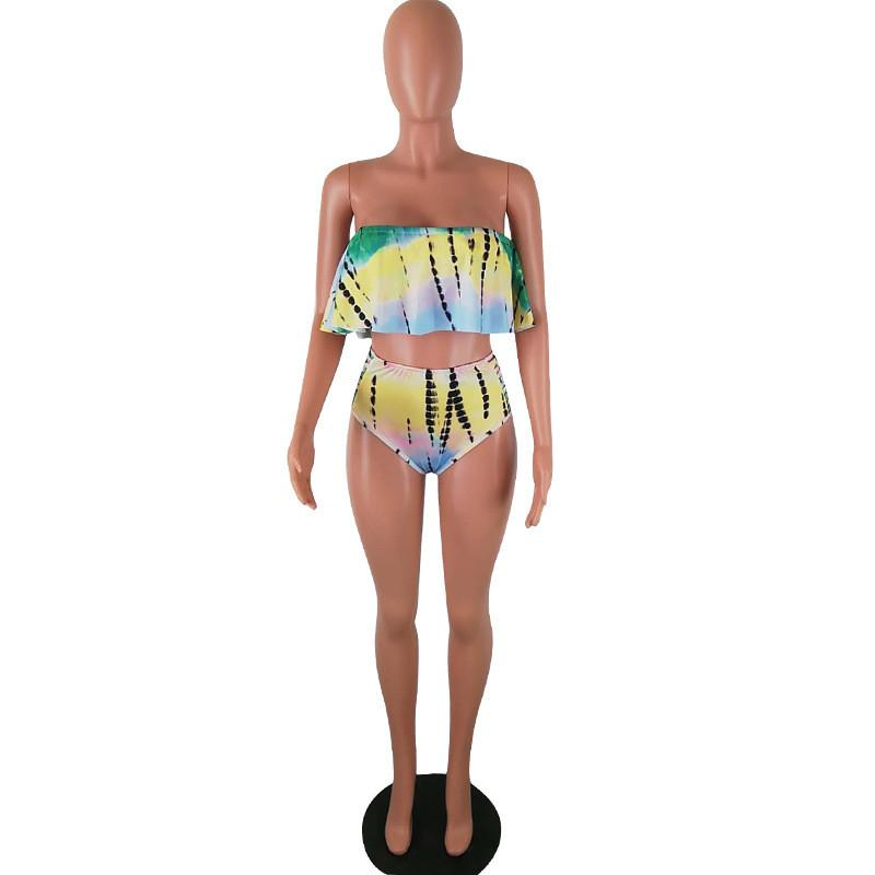 Tie Bikini Gradiente Flouncy Falbala Traje De Ruffle Dyed Mujeres Del TopHipster Baño Strapless Fuera 2 Sexy Hombro Piezas mNw80Ovn