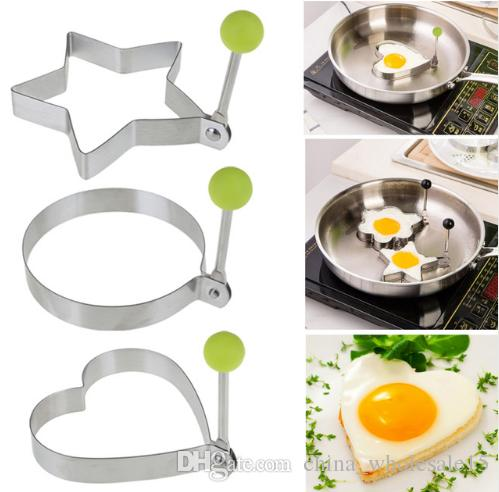 Stainless Steel Fried Egg Shaper egg Pancake Ring Mould Mold Kitchen Cooking Tools Stainless Steel Love Round Star Molds