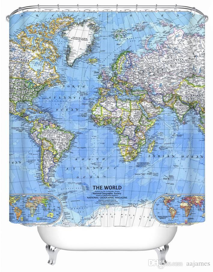 The World Map Polyester Fabric Waterproof Shower Curtain 60W X 72H Online With 317 Piece On Aajamess Store