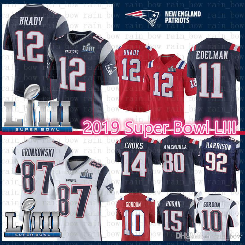 77a9cf01b15 2019 New Patriots Jersey 12 Tom Brady 87 Rob Gronkowski Super Bowl ...