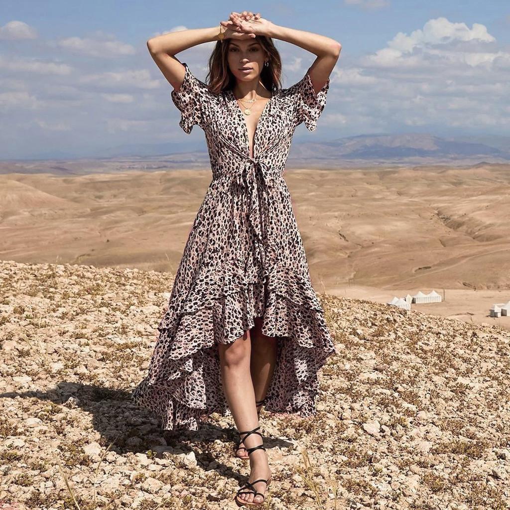 9d15d4a3c3a78 2019 vetement femme Summer Women vestido summer dress clothes V Neck  Leopard Print Bandage Irregular Hem Boho Long Maxi Dress