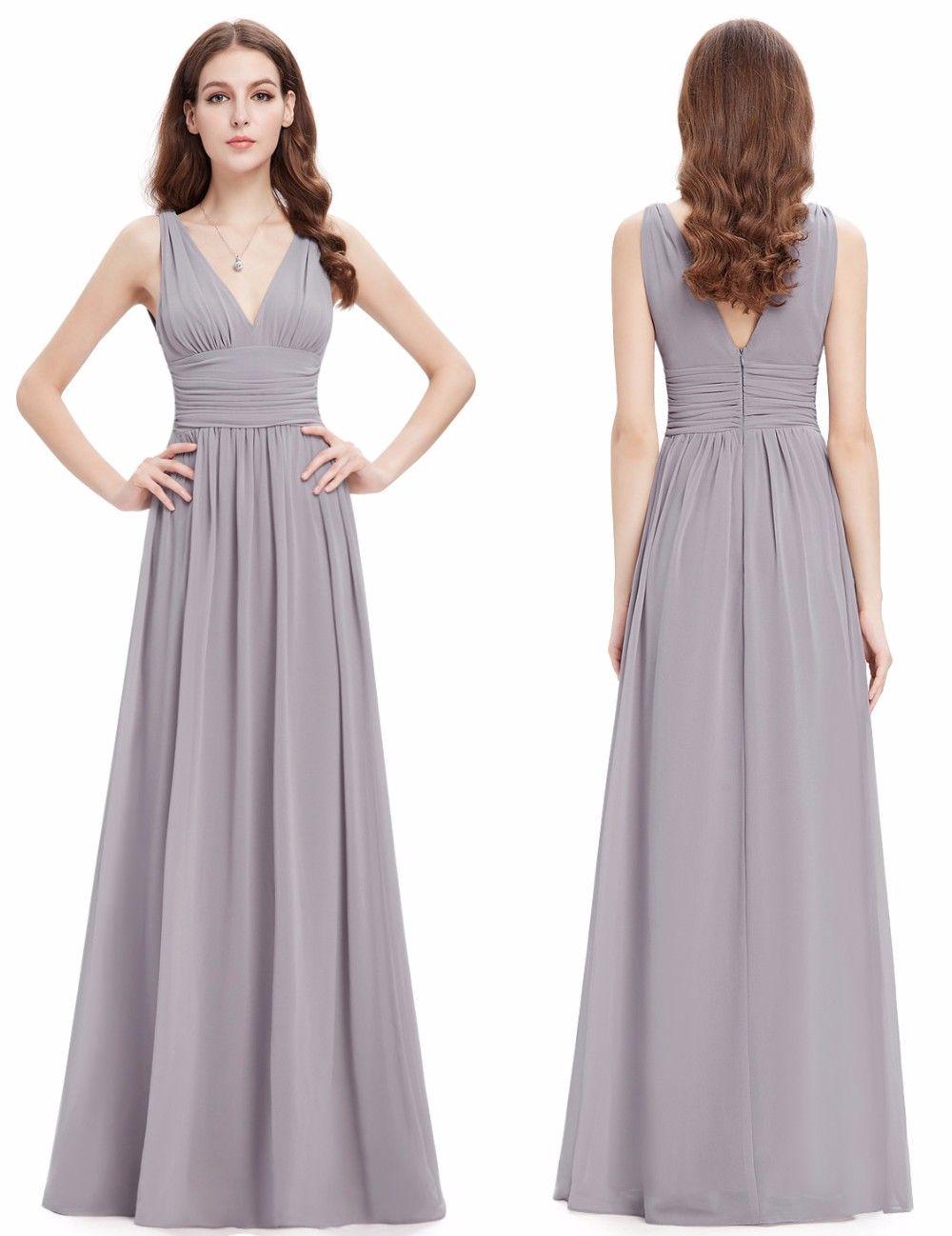 8e8e8755627 Elegant Sexy Deep V Collar Long Silver Gray Chiffon Bridesmaid Dresses Red  Halter Shoulders Pure Hand Grip Fold Prom Party Dresses Bridemaid Dresses  ...
