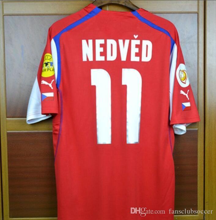 764e07208 EURO CUP 04 Czech Republic Retro Soccer Jersey home away Pavel Nedved  Champions Mens Football Shirts 2004 Czech football shirt