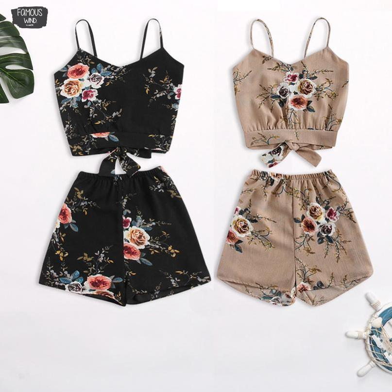 V-Neck V Floral Neck Cropped Shorts Top And Elastic Waisted Trim Women Clothes Casual Two Piece Set Summer Twinset