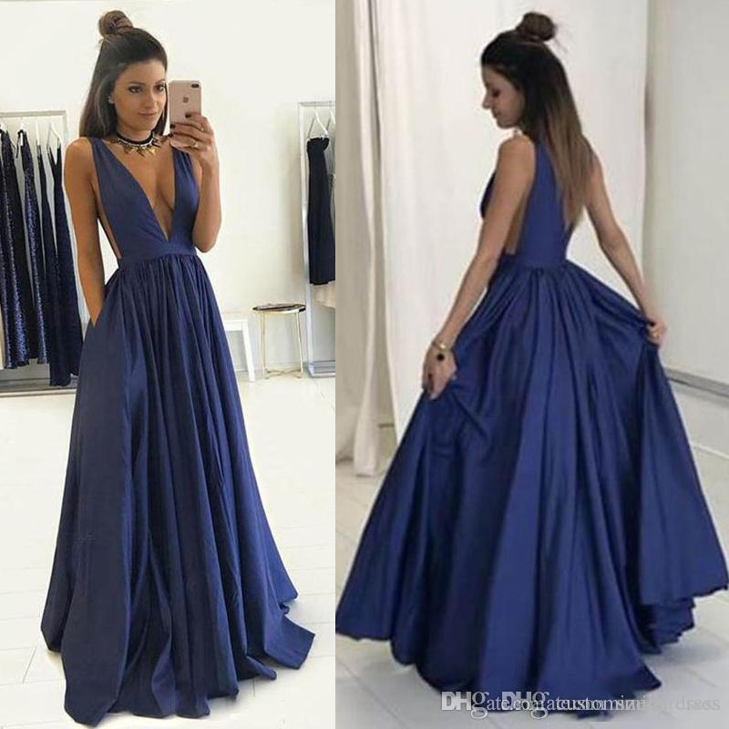 d5512837 Simple Style 2018 Navy Blue Evening Gown Sexy Deep V Neck A Line Taffeta  Party Evening Prom Dresses Cocktail Dresses Cheap Long Lace Dress Plus Size  Gowns ...