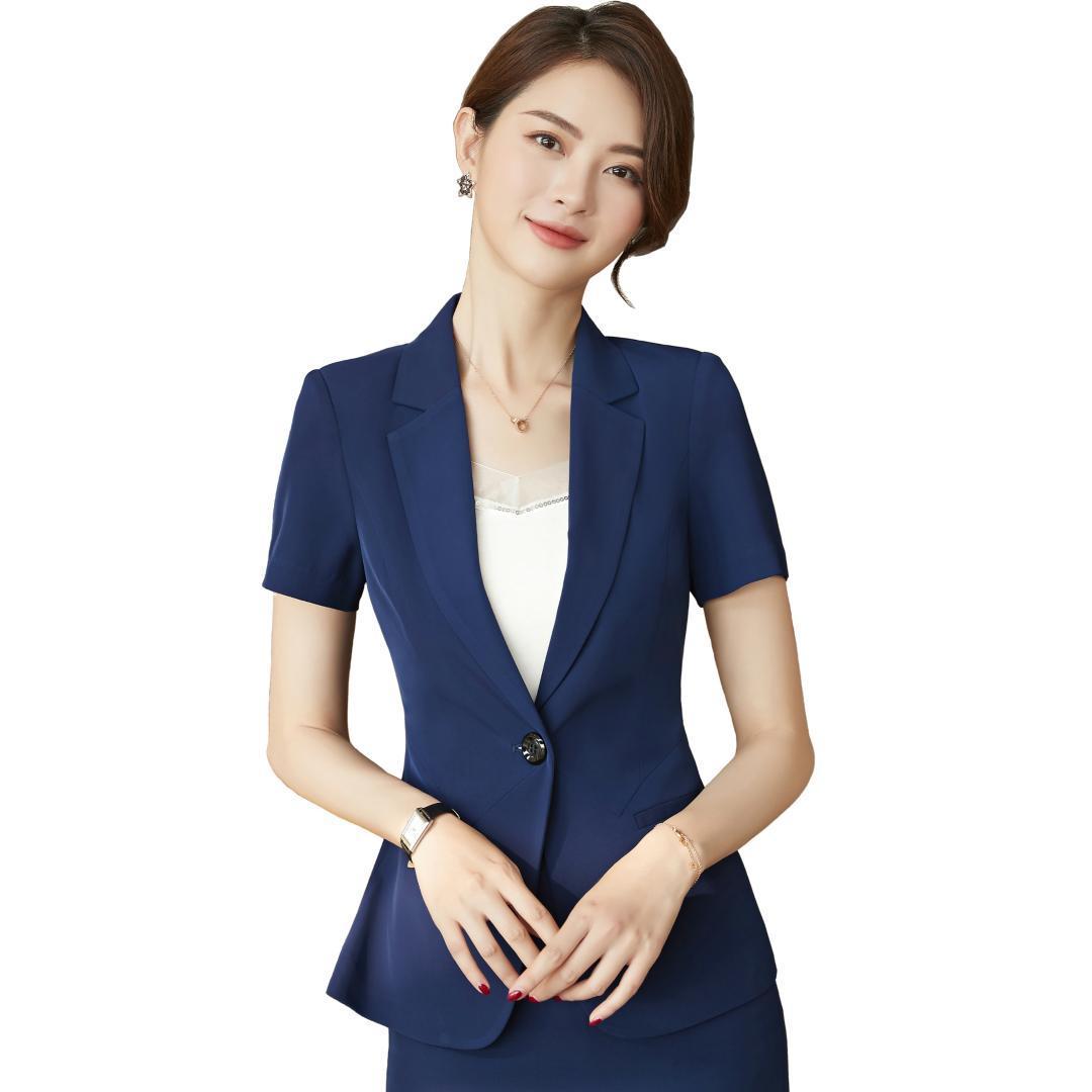 12afcf7ce Primavera verano traje de las mujeres elegante desgaste formal de manga  corta chaqueta de oficina de negocios informal de trabajo falda trajes ropa  de ...