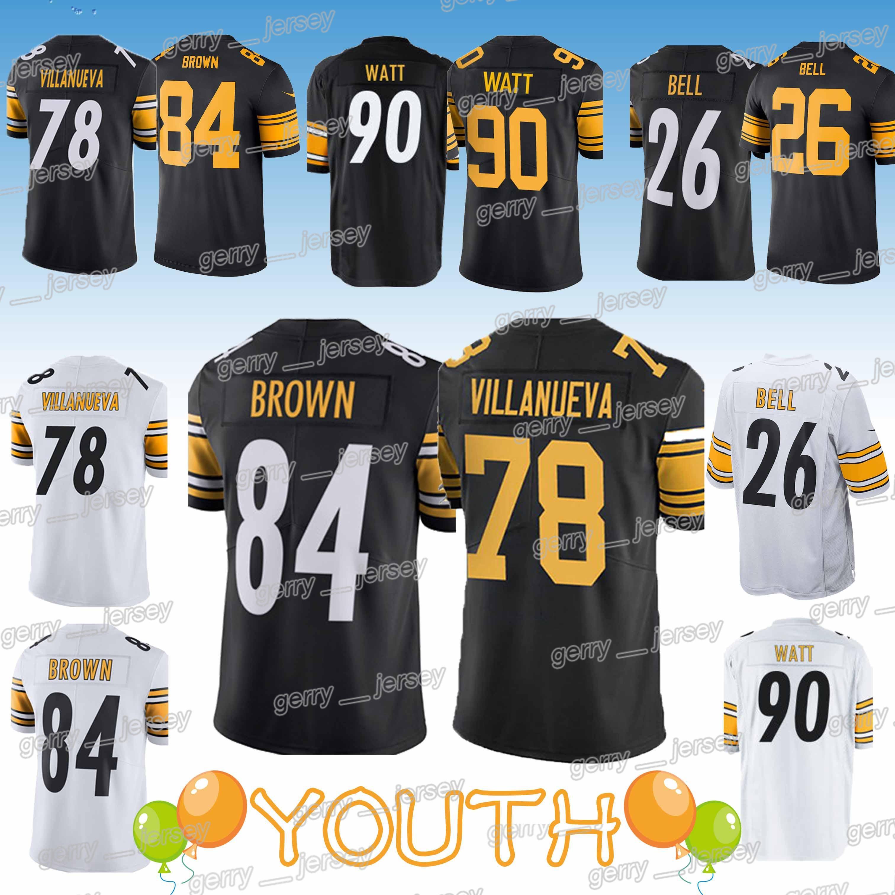 huge discount b1209 2847b Kids 84 Antonio Brown 78 Alejandro Villanueva child 90 T.J. Watt 26 Bell  Pittsburgh jerserys Steeler jersey YOUTH 2019 Design sweater