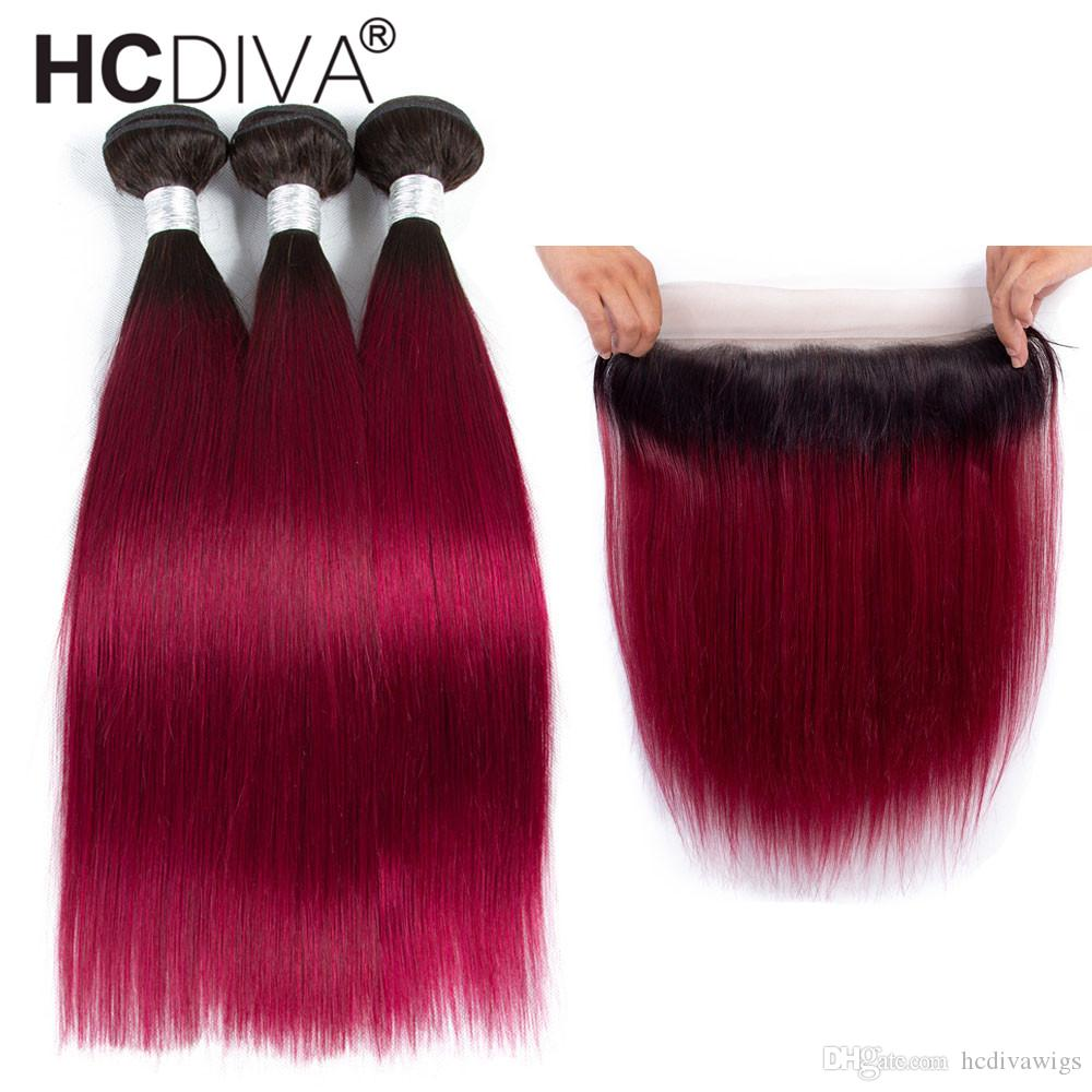 T1B/Burgundy Wine Red Ombre Bundles With Frontal Closure Brazilian Virgin Straight Bundles With Closure Two Tone Dark Roots Human Hair Weavi