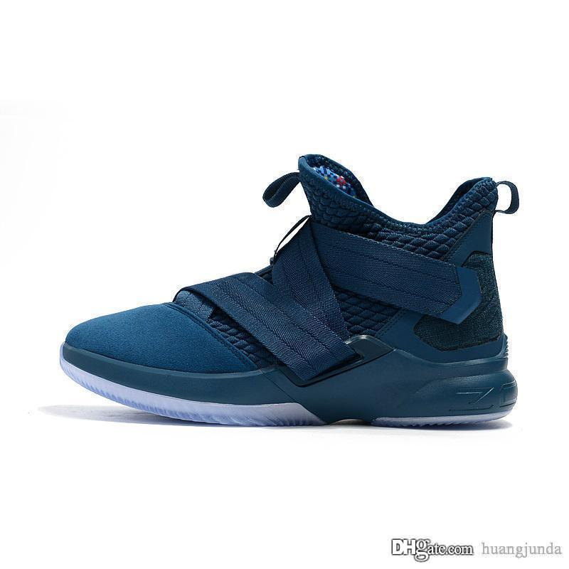 online store 43720 87c70 2019 Cheap Lebron Soldiers 12 Basketball Shoes For Men Agimat Midnight Navy  Blue Christmas Lebrons Soldiers XII Elite Sneakers With Original Box From  ...