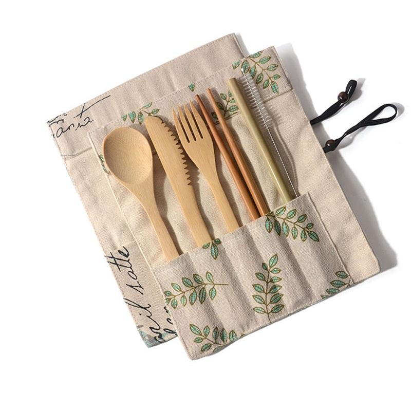Canvas Bag Tableware Suit Chopsticks Spoon Fork Knife Dinnerware Set Outdoors Travel Dinner Service Kit With Various Pattern 11le J1