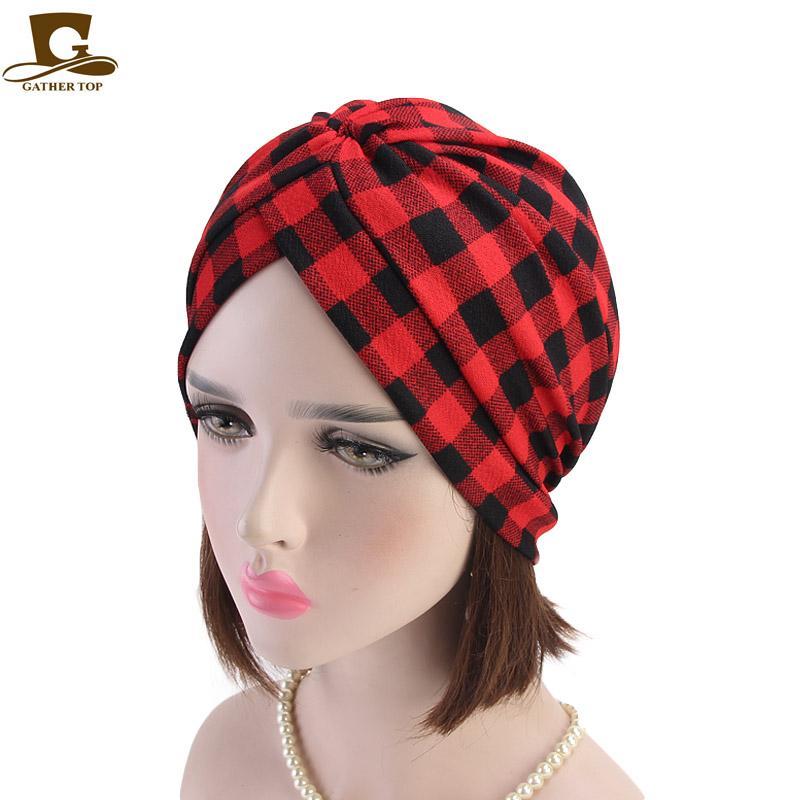Acquista 2019 Nuove Donne Di Modo Plaid Turbante Chemio Cappello Della  Fascia Della Fascia Turbante Copricapo Cancro Paziente Hijab Accessori  Capelli A ... 69b92382b917