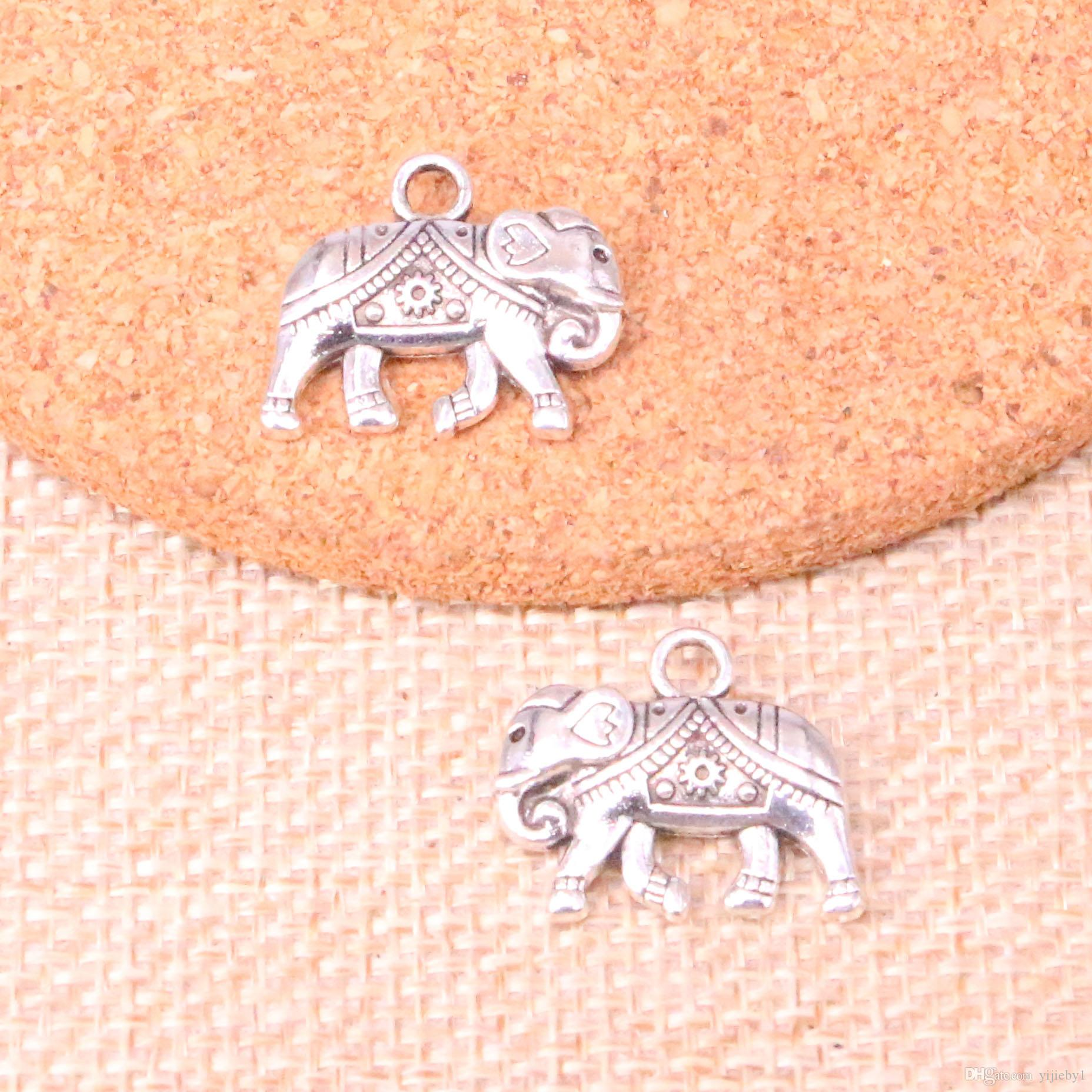 52pcs Charms Thailand mounts elephant Antique Silver Plated Pendants Fit Jewelry Making Findings Accessories 16*20mm