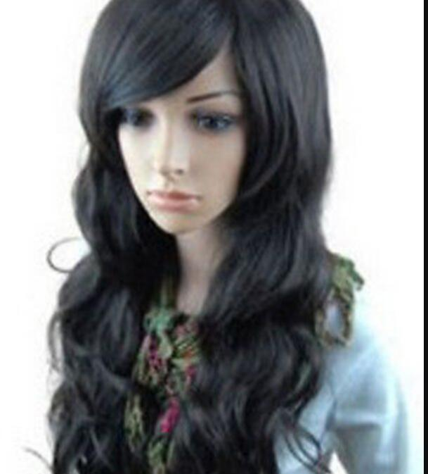 WIG Hot heat resistant Party hair>>>NEW LONG CURLY BLACK FASHION WOMEN WIG